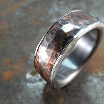 forged silver copper ring wide rustic ring mens ring copper and