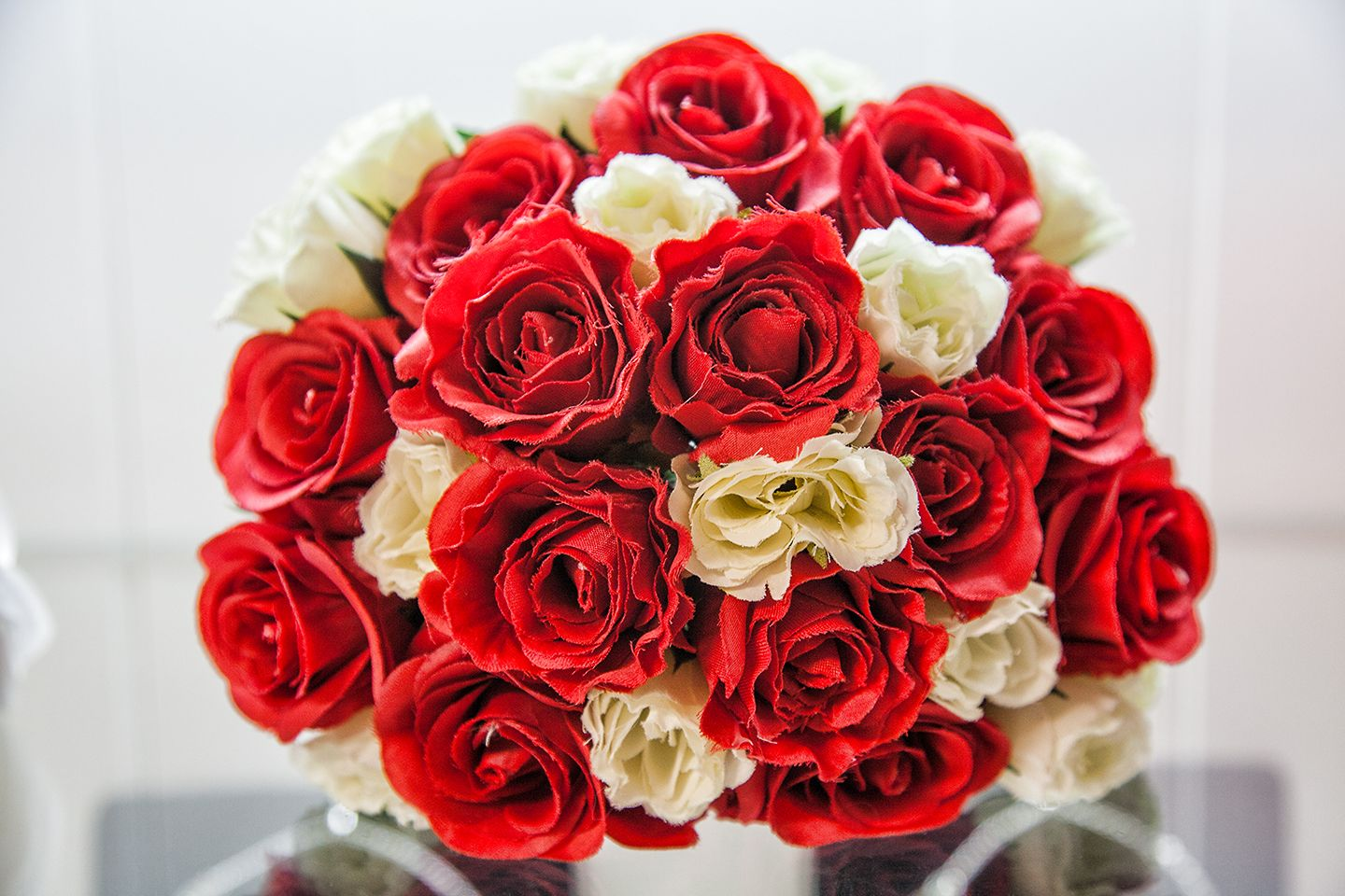 Bridal bouquet artificial red and white roses red and