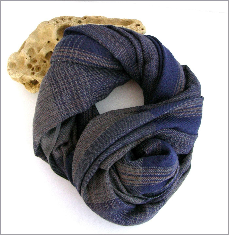 Écharpe Homme Bleu Gri Beige - Rayure et carreaux tendance - snood, col,    Echarpes par ladyplazza 0eec29c0a5a