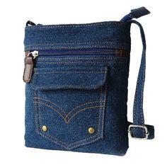 Donalworld Women Mini Denim Cross Body Bag Messenger Shoulder Bag Owlblue