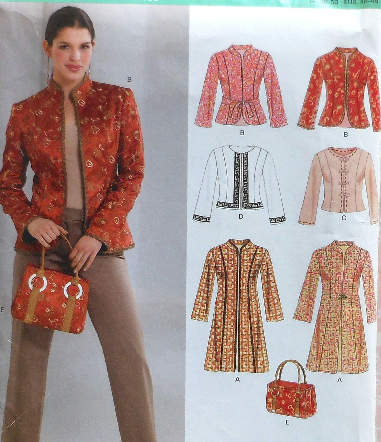 Long and Short Jacket Sewing Pattern UNCUT New by latenightcoffee