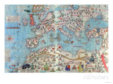Catalan Atlas: Detail of North Africa and Europe, by Abraham and Jafunda Cresques, 1375 Lámina giclée