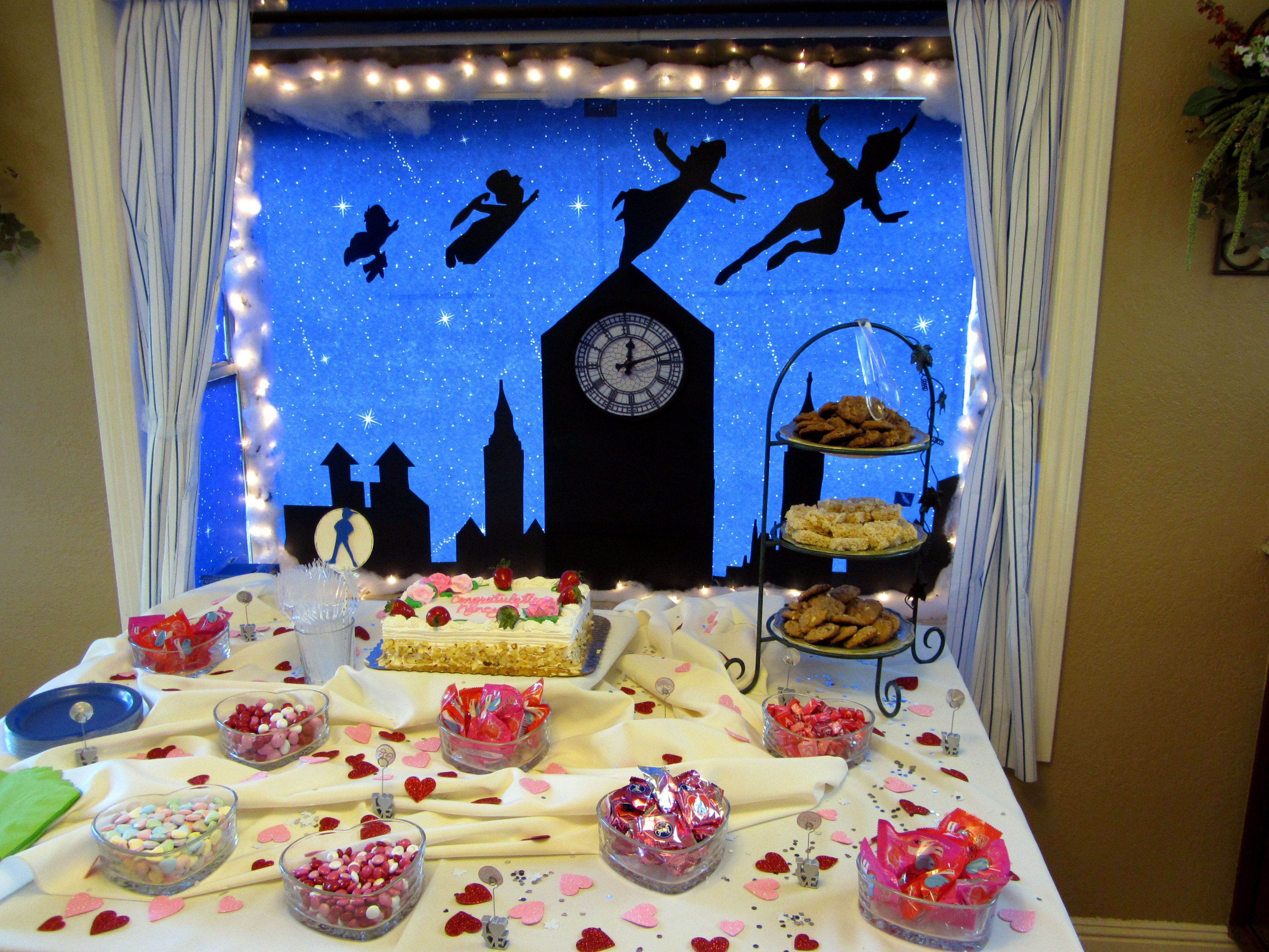 Peter Pan Bridal Shower Decorations Silhouettes And Dessert Table Peter Pan Party Party Decorations Peter Pan Party Supplies