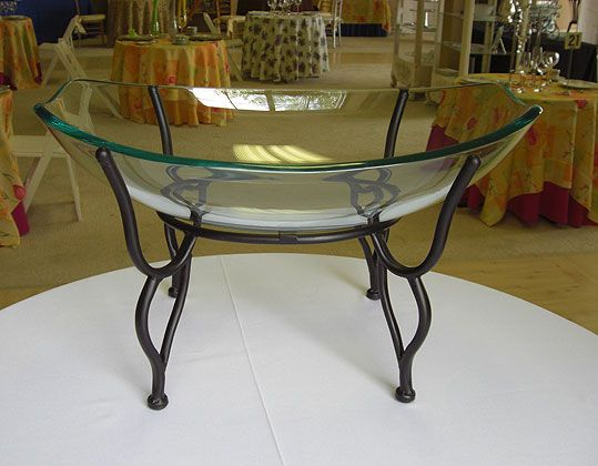 Black Iron Display Stand Oval Glass Bowl With Black Wrought Iron Interesting Wrought Iron Display Stands
