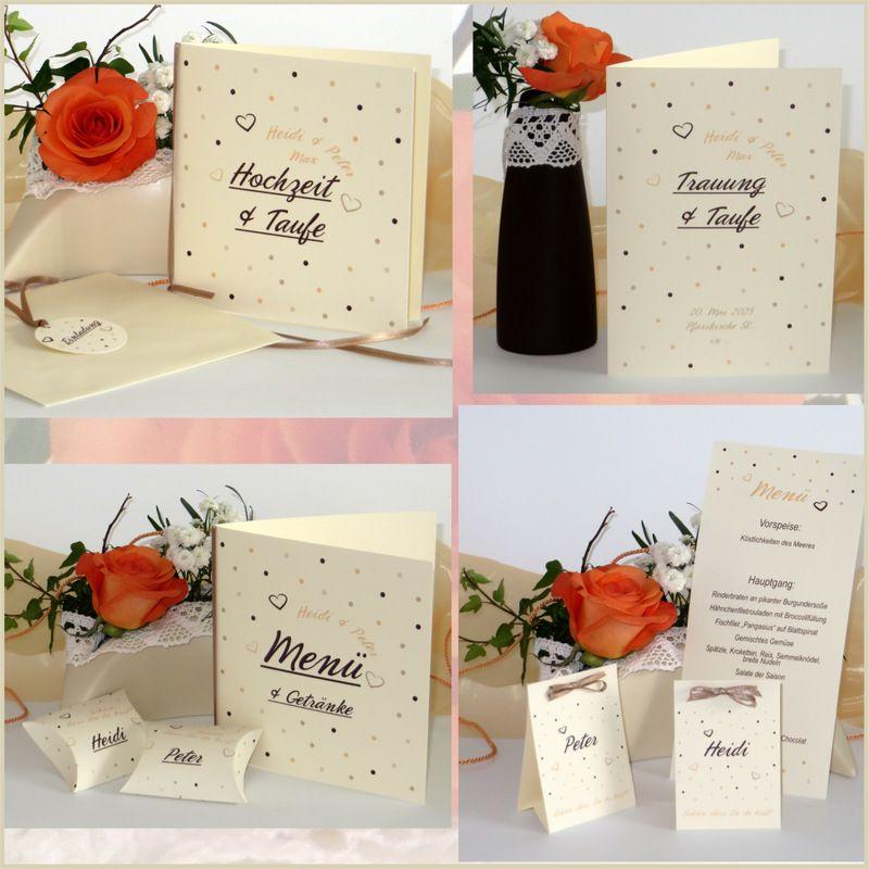 Einladungen Co Fur Eine Moderne Hochzeit Mit Taufe In Apricot Und Creme Traufe Hochzeit Taufe Punkte Karte Hochzeit Hochzeitskarten Hochzeitseinladung