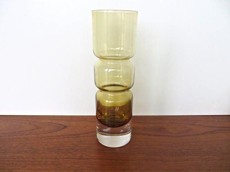 Vintage Scandinavian Hooped Glass Vase 9 Amber Glass Etsy Modern Glass Vases Glass Vase Modern Glass