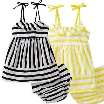 f7ddd9c7710a 2Pcs Set Baby Kids Girl Clothes Sleeveless Striped Ruffles Tops+Short Pants  Baby Outfits Set