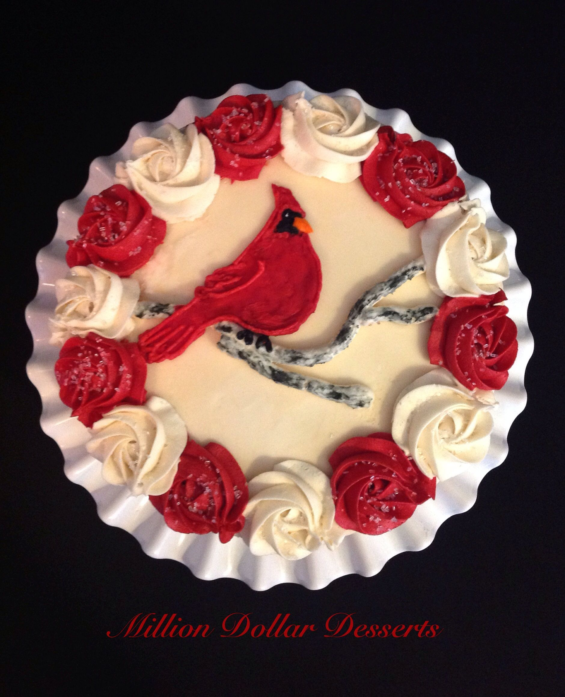 Red Bird Cardinal On Birch Branches Cake