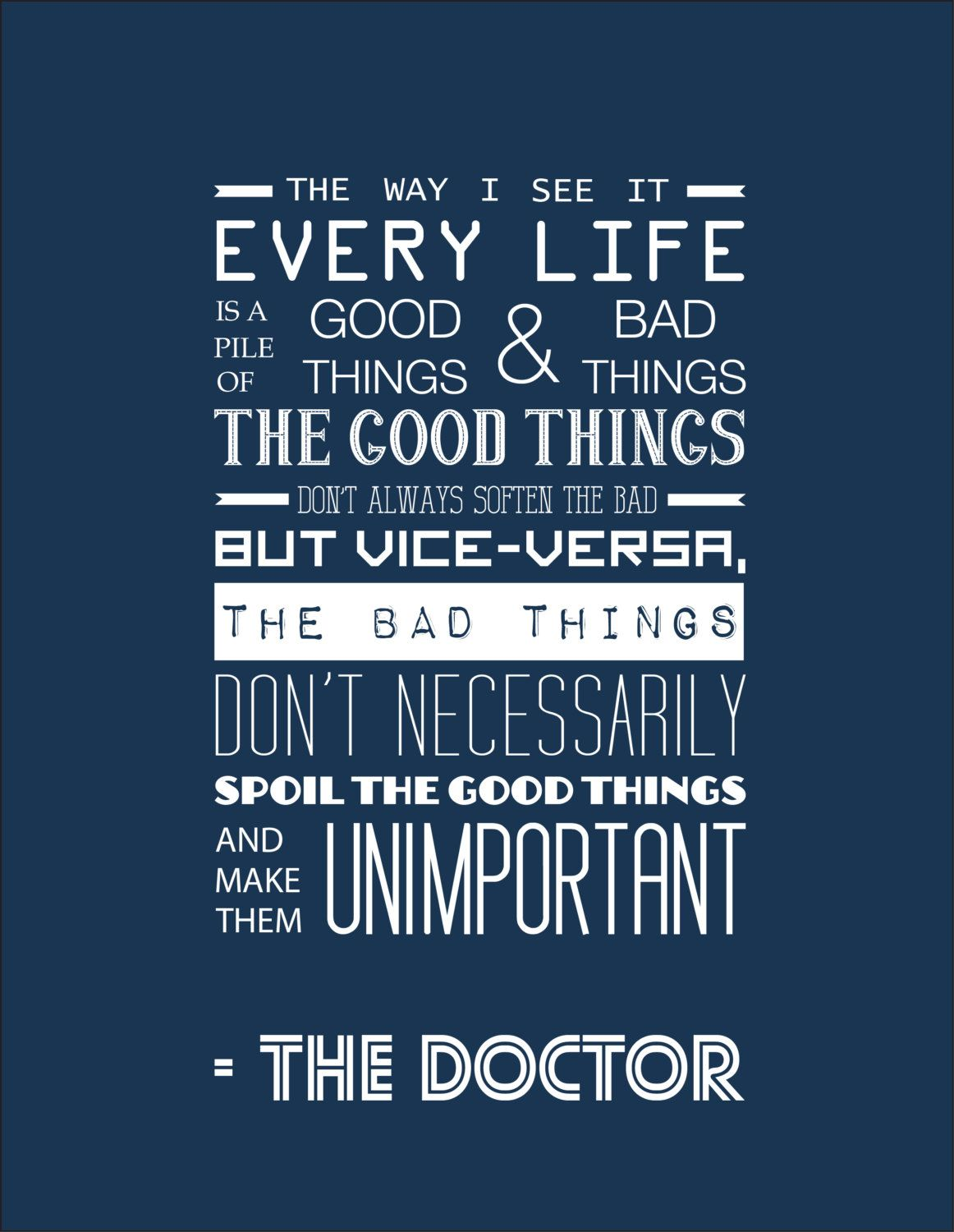 Matt Smith Doctor Who Quotes: Doctor Who Inspirational Quote Typography Print By
