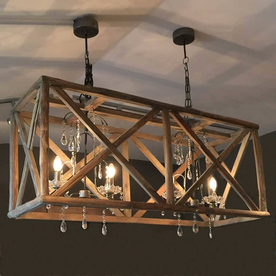 Large wooden chandelier with metal and crystal wooden for Wood pendant chandelier