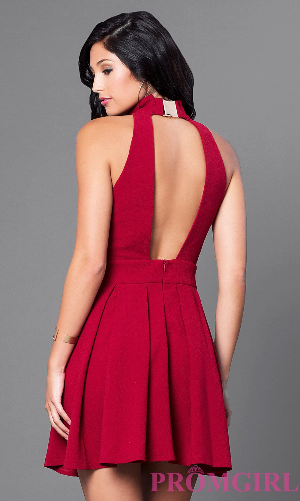 Openback short highneck homecoming party dress wedding guest