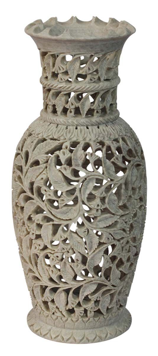 Bulk Wholesale 10 Hand Carved Decorative Flower Vase In Soapstone