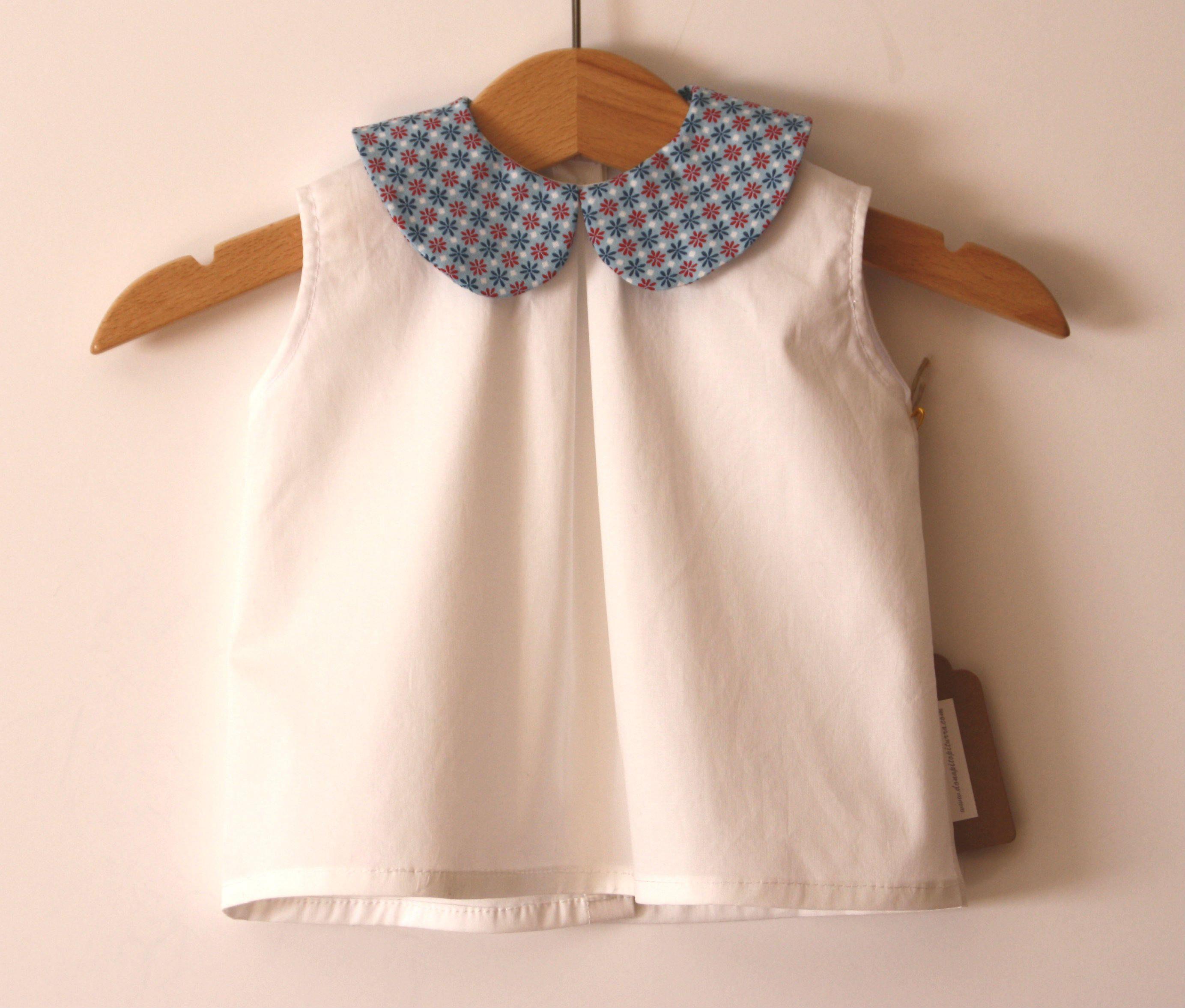 Blouse summer unisex white neck cotton sleeveless blouse nina flowers, baby  boy blouse, shirt boy, girl