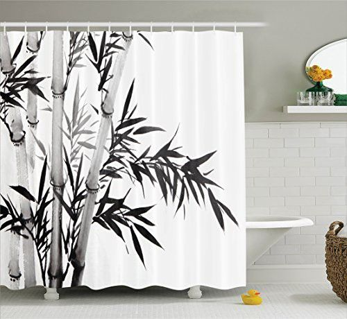 Asian Shower Curtain Bamboo Decor By Ambesonne, Bamboo Tree Illustration  Traditional Chinese Calligraphy Style Asian