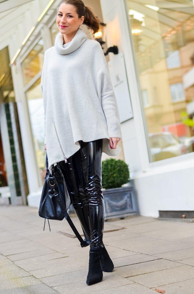 Outfit lack hose elegant kombinieren fashion leather tights leather i pants - Leggings kombinieren ...