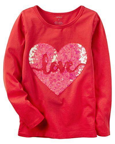 244e1416a Carters Little Girls Valentines Day Red Love Heart Shirt With Pink ...