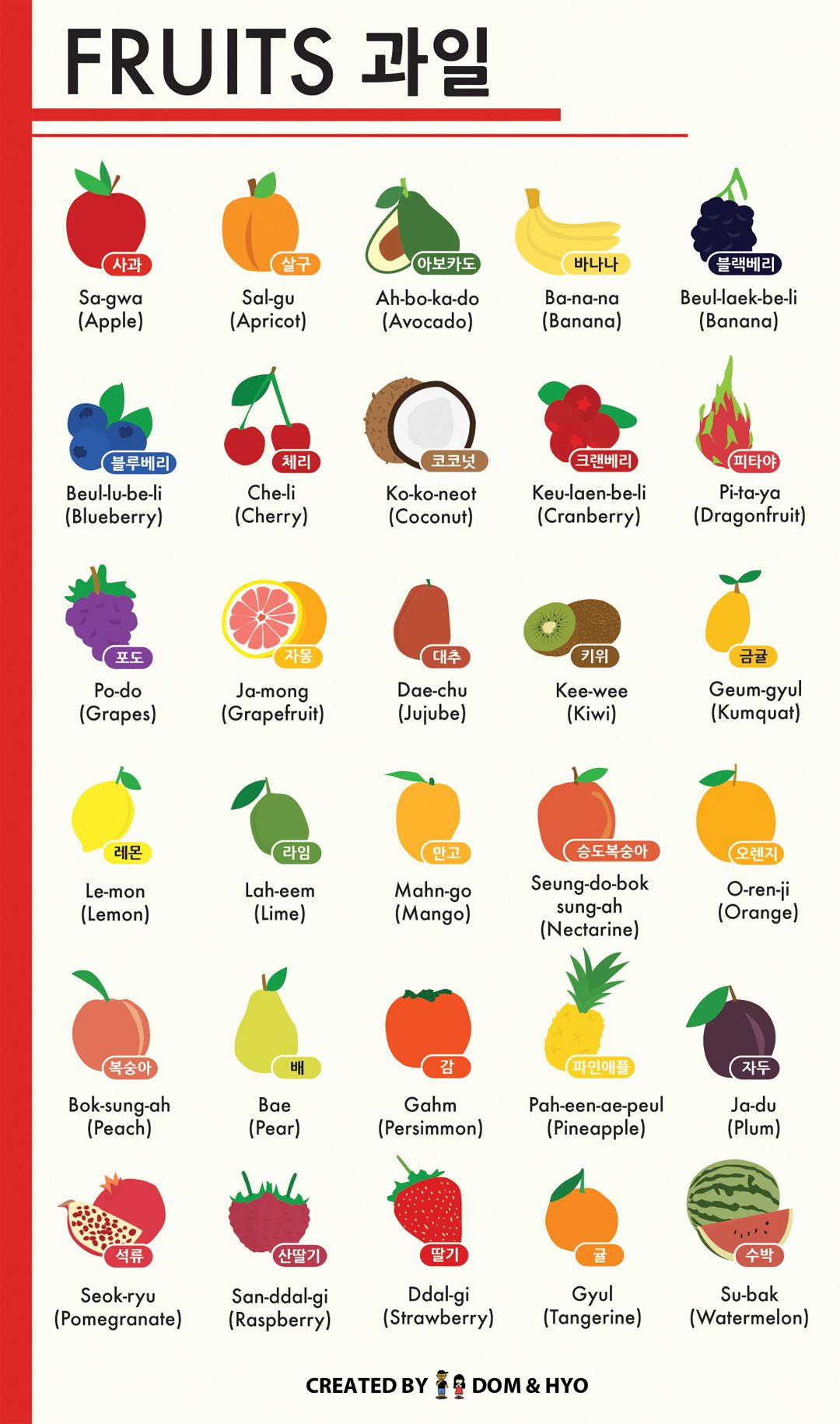 Fruit Names in Korean Infographic Korean language