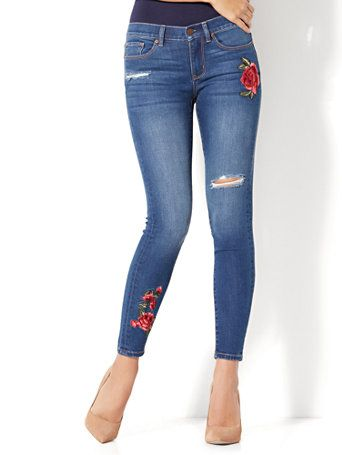 36e2182de5a7 Shop Soho Jeans - Rose Patch Destroyed Ankle Legging - Force Blue Wash.  Find your perfect size online at the best price at New York   Company.