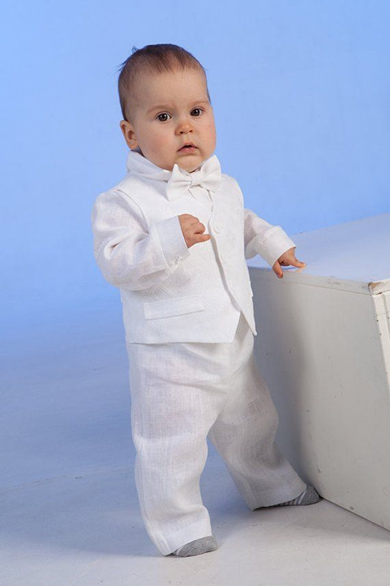 87c6c9903 Baby boy baptism outfit Ring bearer outfit Baby boy linen clothes First  birthday white suit Baby boy