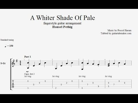 Procol Harum A Whiter Shade Of Pale Fingerstyle Guitar Tabs Pdf