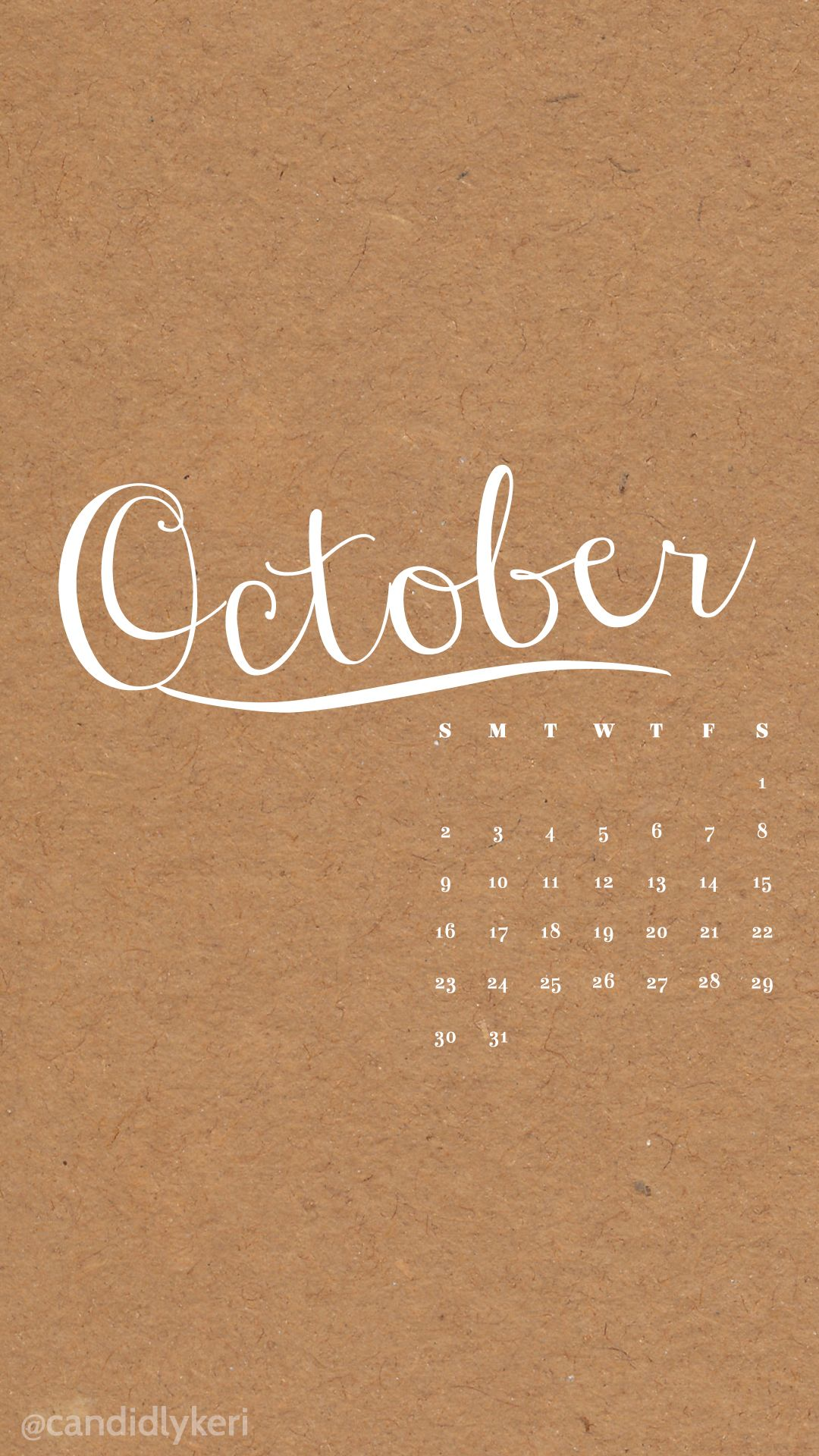 October construction paper brown calendar 2016 wallpaper