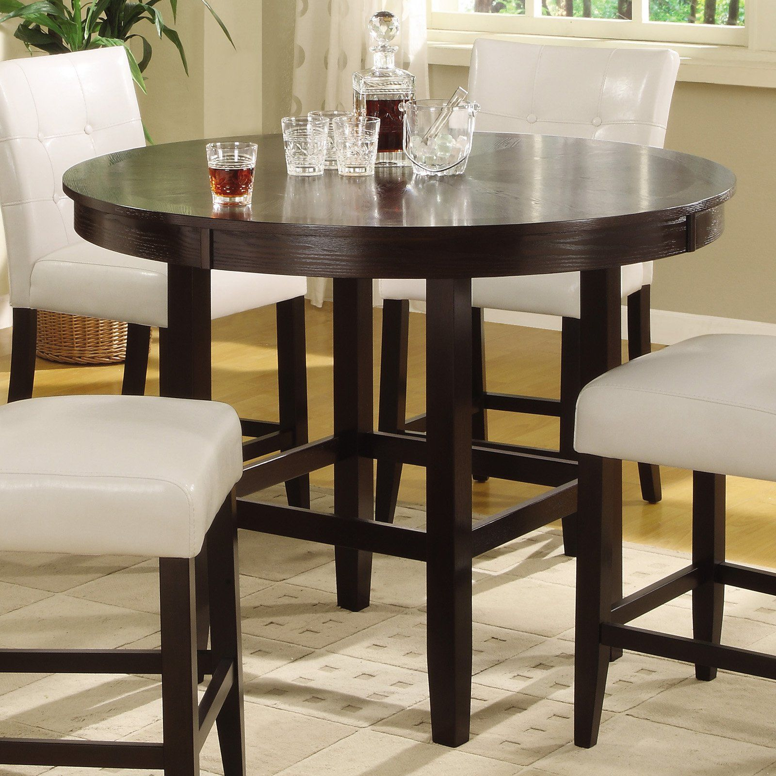 Round counter height dining table dark chocolate 2y2162r48