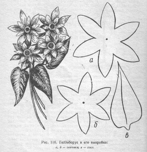 Выкройки цветов, старая полезная книга