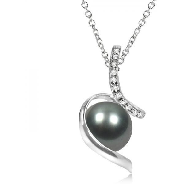 Allurez Diamond Twist Tahitian Cultured Pearl Pendant 14K White Gold... (20 765 UAH) ❤ liked on Polyvore featuring jewelry, necklaces, chains jewelry, diamond pendant, 14k diamond pendant, freshwater pearl jewelry and diamond pendant jewelry