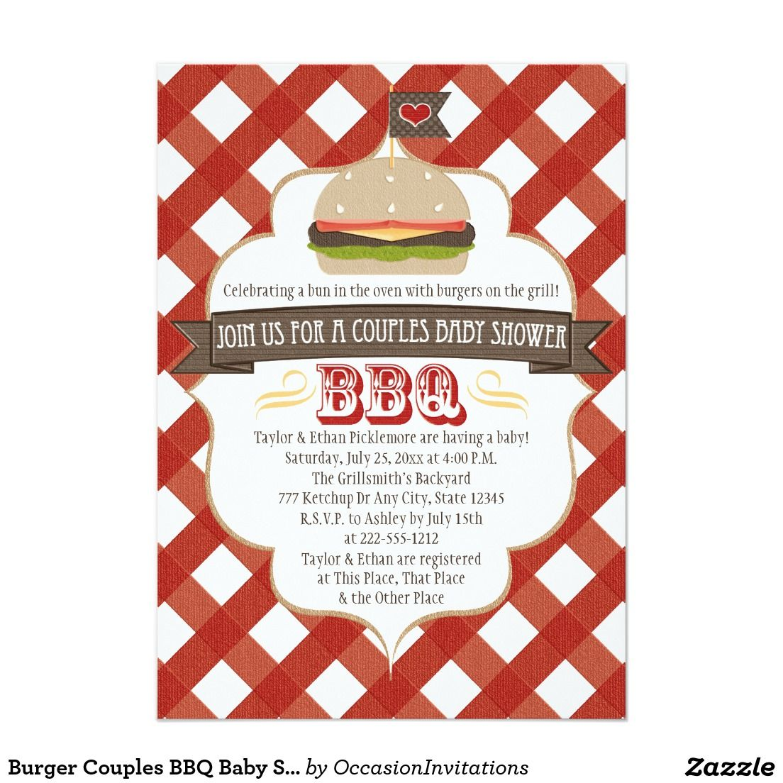 Burger Couples BBQ Baby Shower Invitations | Shower invitations