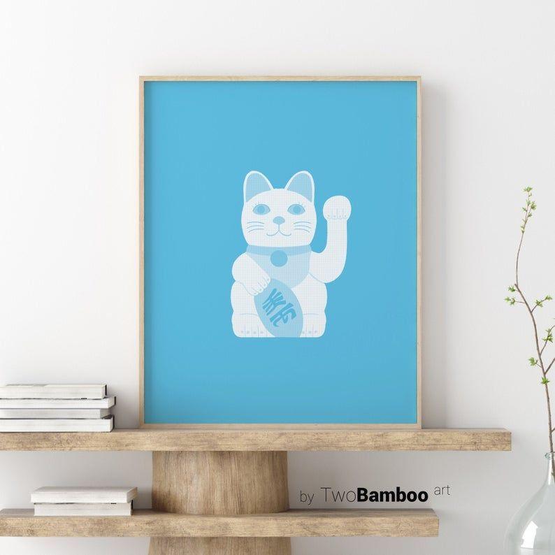 Maneki Neko Print, Lucky Cat Print, Fortune Cat Illustration, Printable Wall Art, Japanese Art