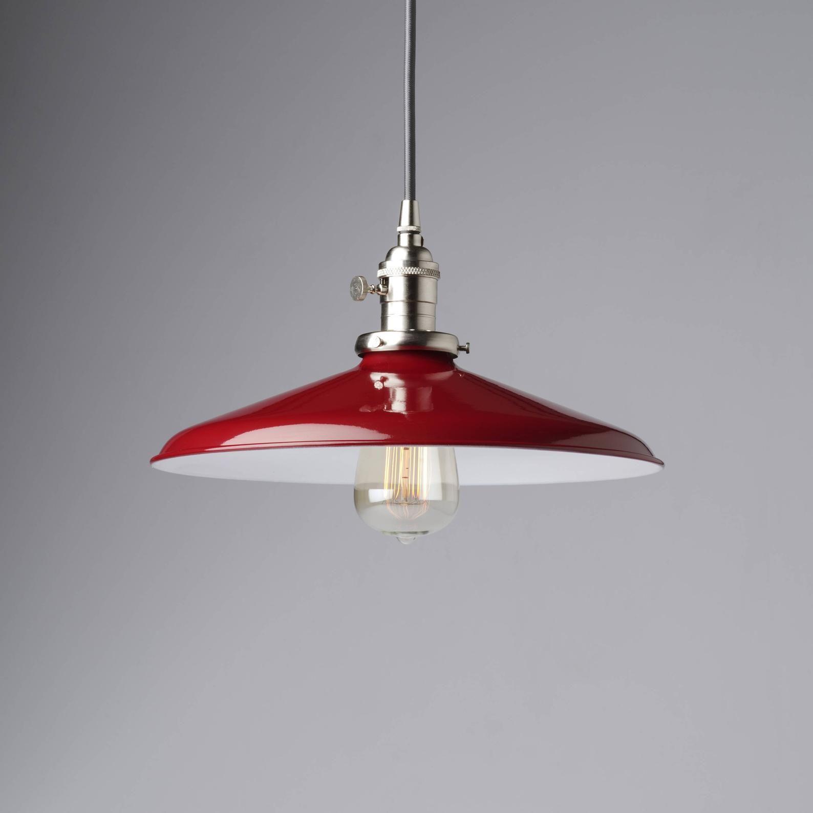 Pendant Light Fixture Red 14 Metal Porcelain Enamel Vintage Etsy In 2020 Industrial Light Fixtures Pendant Light Fixtures Pendant Light