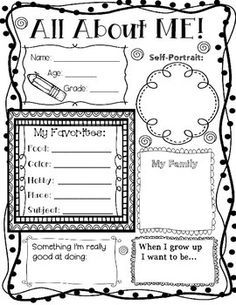 All About Me Poster All About Me Poster First Day Of School