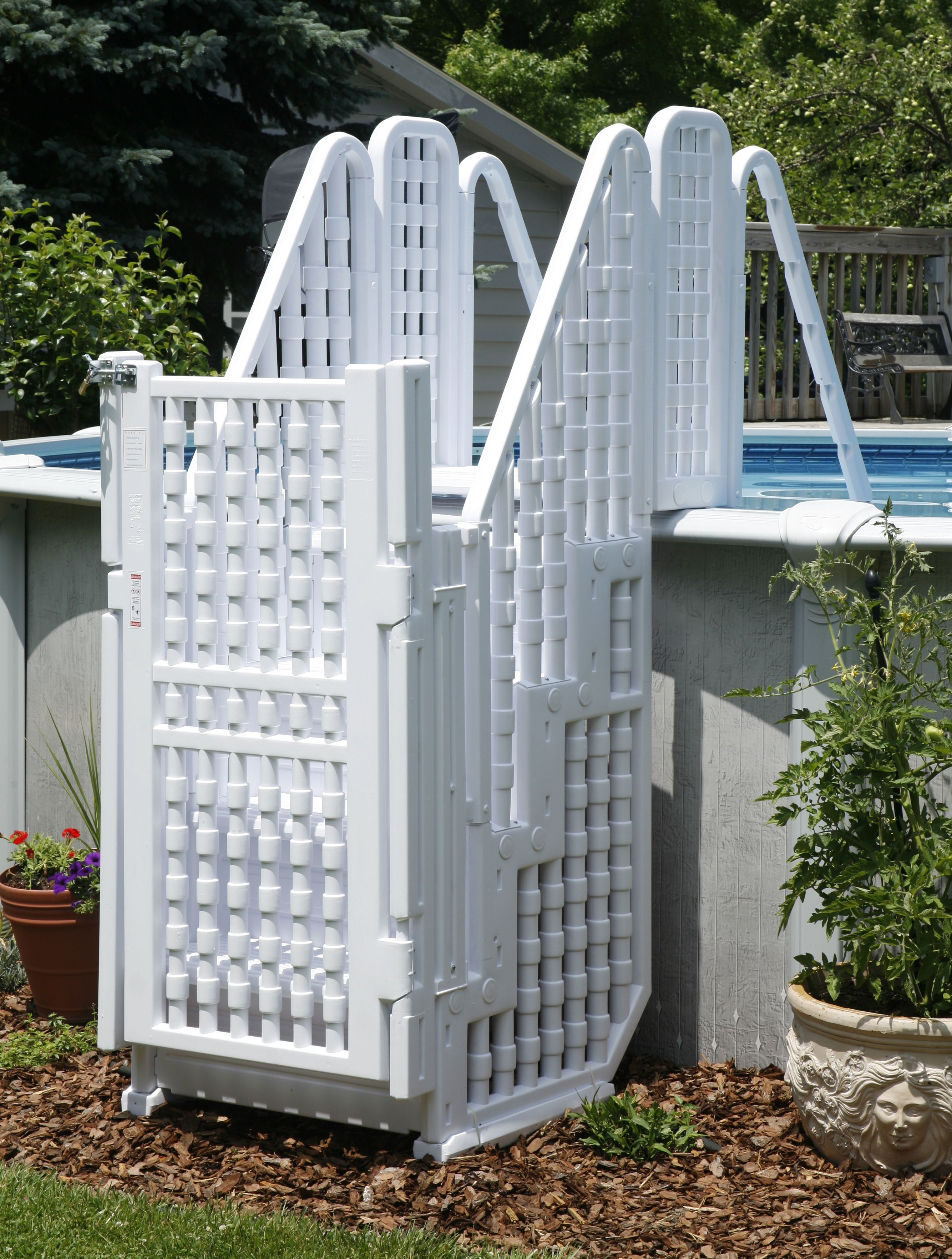 New complete steps entry system above ground swimming for Above ground pool gate ideas