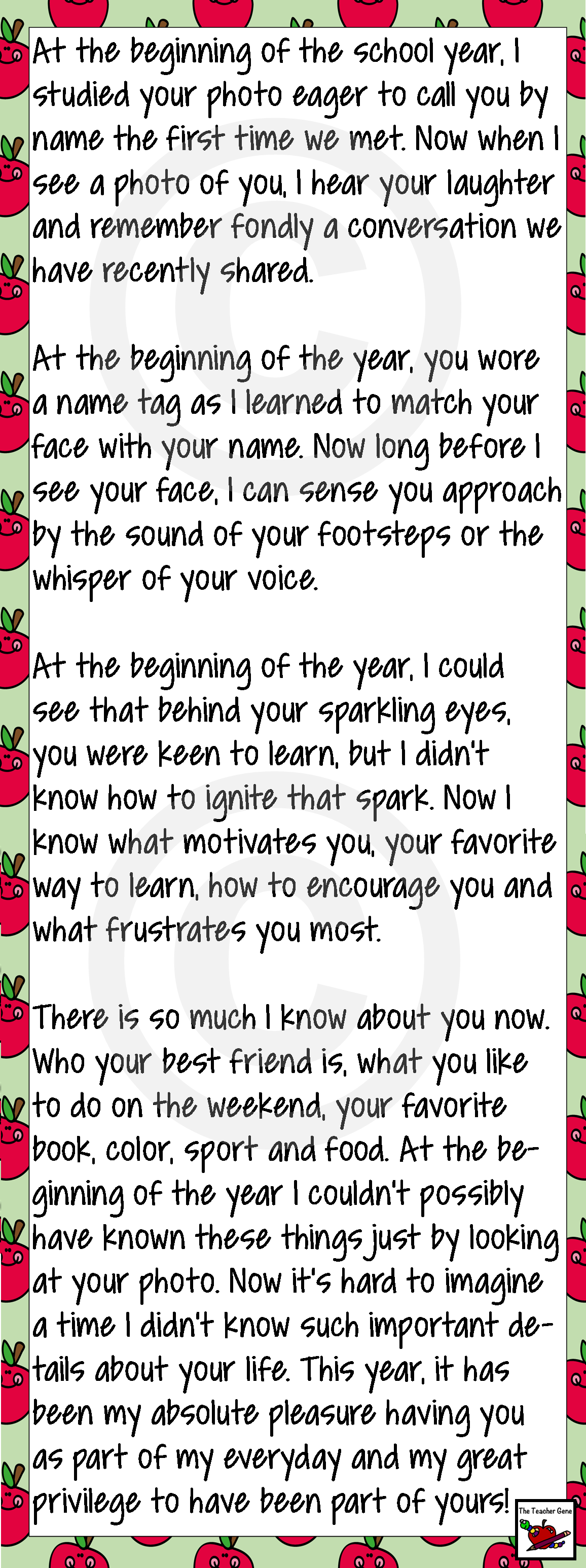 End of Year Letter From Your Teacher School Teacher and