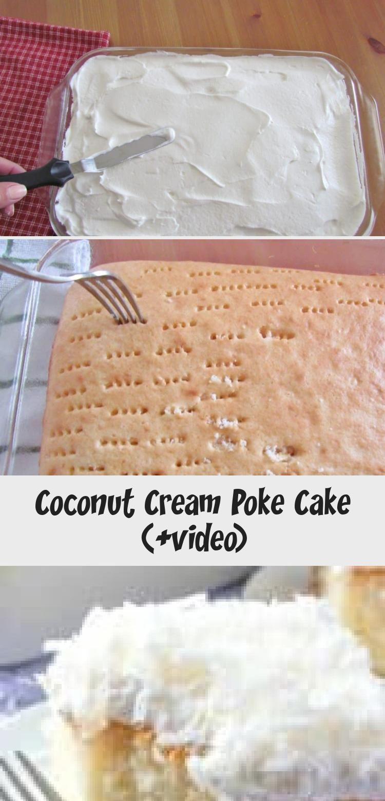 Coconut Cream Poke Cake (+video) Easy Coconut Cream Poke recipe from The Country Cook