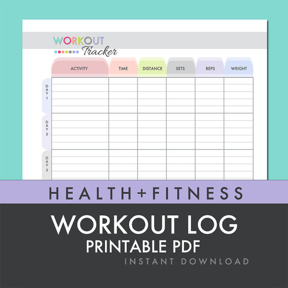 Health and Fitness Printables Kit – Workout Worksheet