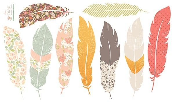 Floating Feathers Wall Stickers