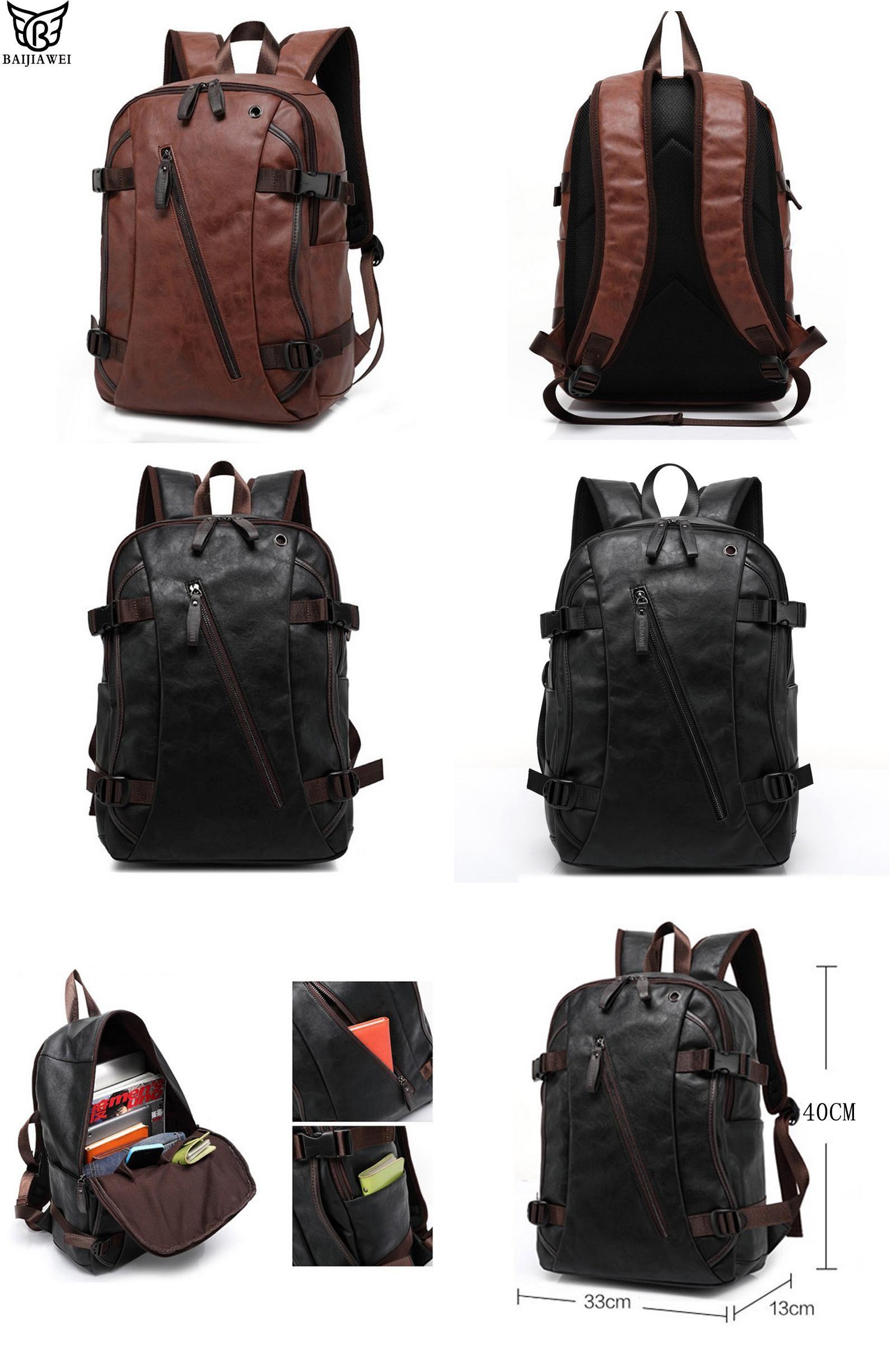 Visit to Buy  BAIJIAWEI Men PU Patent Leather Backpacks Men s Fashion  Backpack   Travel f4536e415021c