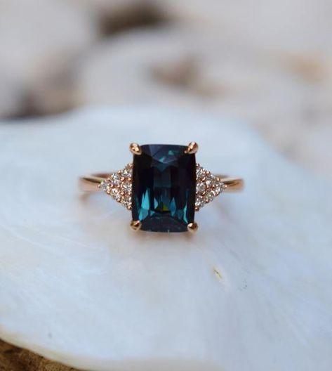 Peacock sapphire engagement ring. 3.15ct emerald cut blue green sapphire ring diamond ring Martini by Eidelprecious -