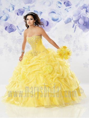 White and yellow quinceanera dresses