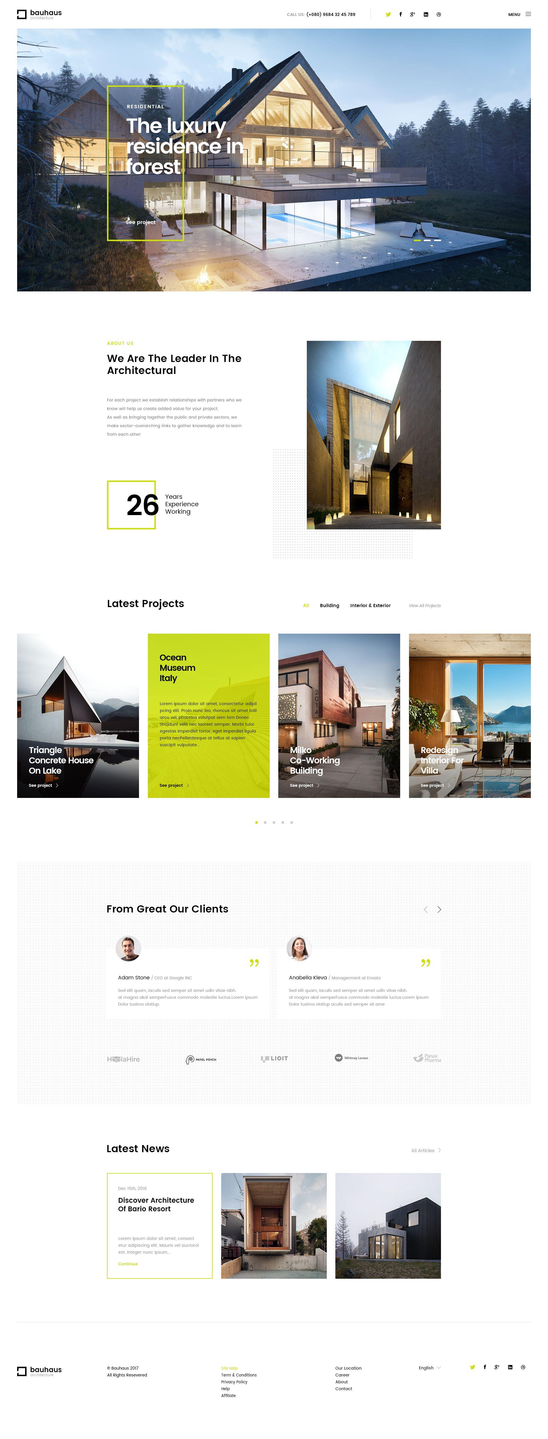 Bauhaus | Architecture & Interior PSD Template Preview