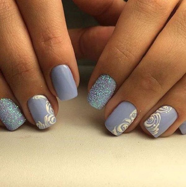 Very Cute Looking Blue Rose Nail Art Design The Baby Blue Colors Are Used For The Background Colors While The Roses Are Draw Rose Nail Art Rose Nails Nail Art