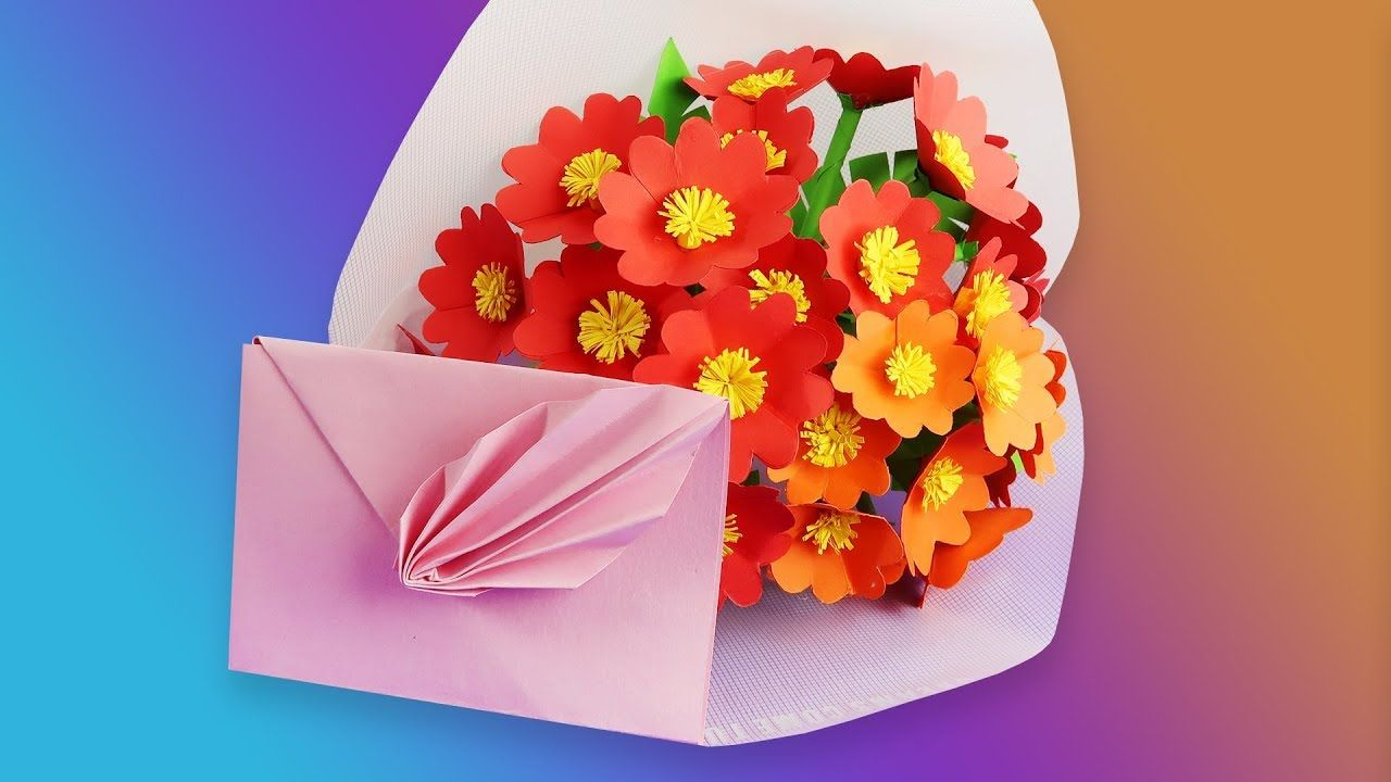 Very Easy And Simple Paper Crafts Paper Envelope Paper Flower