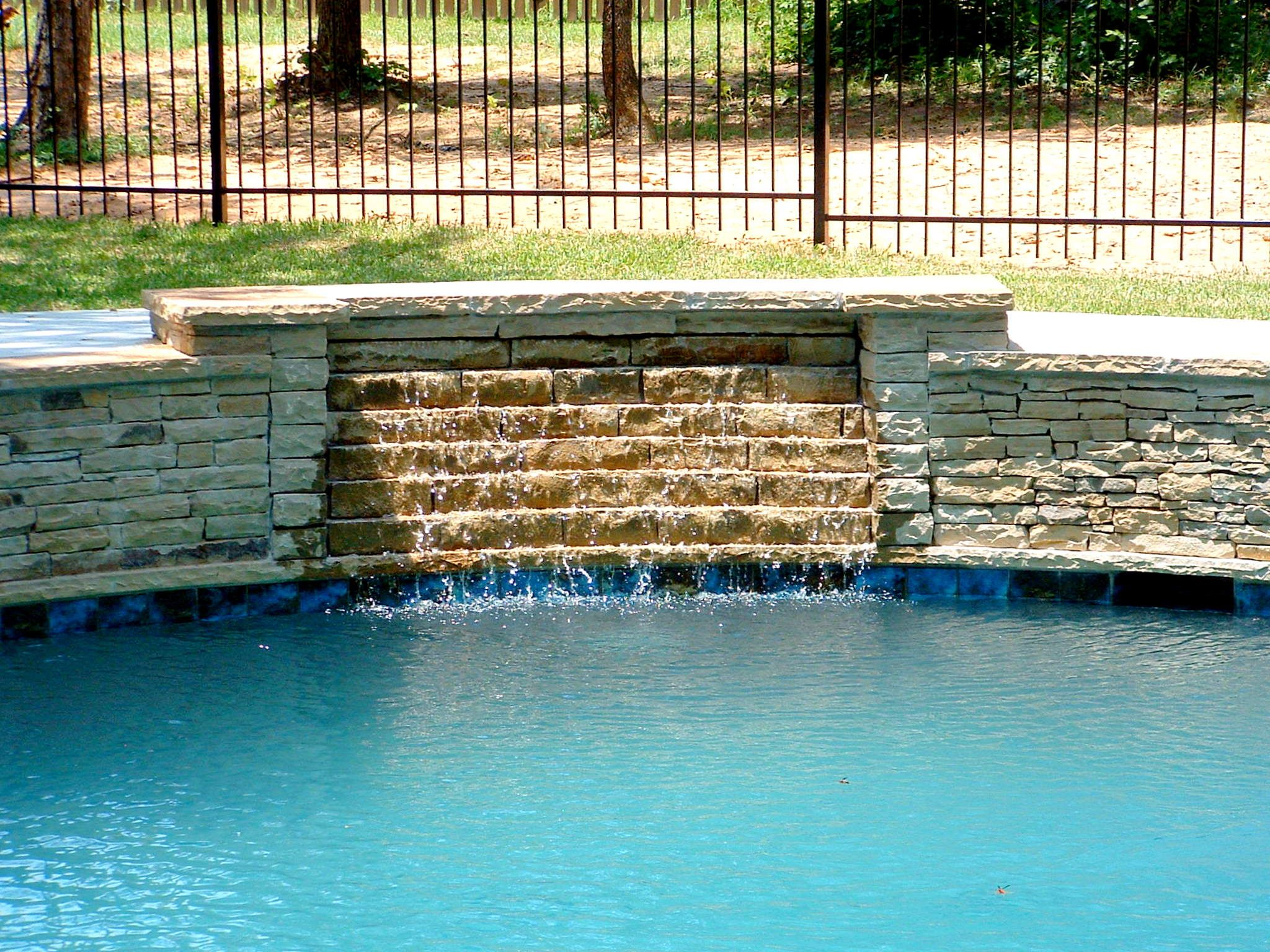 Pool Waterfalls Swimming Pool Drystack Stone Veneer Waterfall Keller Texas Backyard