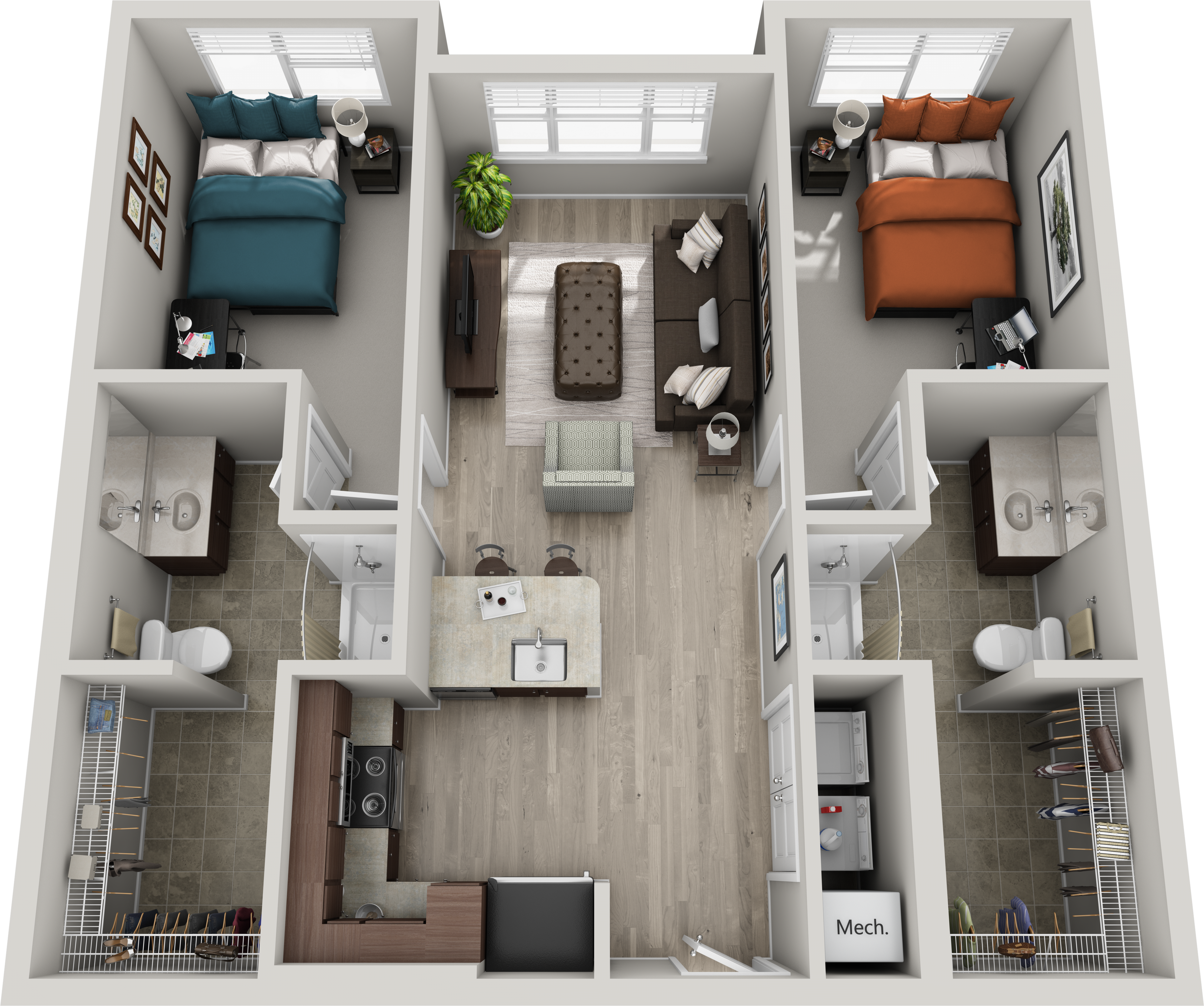 2br 2ba Shelby Is A 2 Bedroom Apartment Layout Option At 303 Flats This 904 00 Sqft Floor Plan Small Apartment Layout Apartment Layout Small Apartment Plans