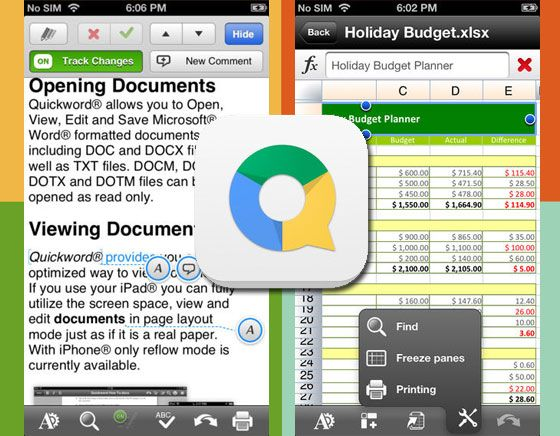 QuickOffice iPhone iPad  Suite Bureautique avec 50 Go Google Drive - free spreadsheet software for macbook pro