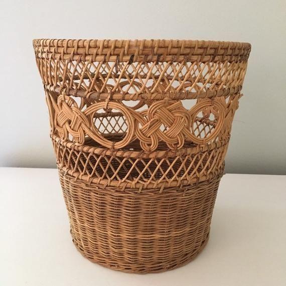 Vintage Boho Style Wicker Waste Paper Basket Vintage Boho Style Wicker Waste Paper Basket