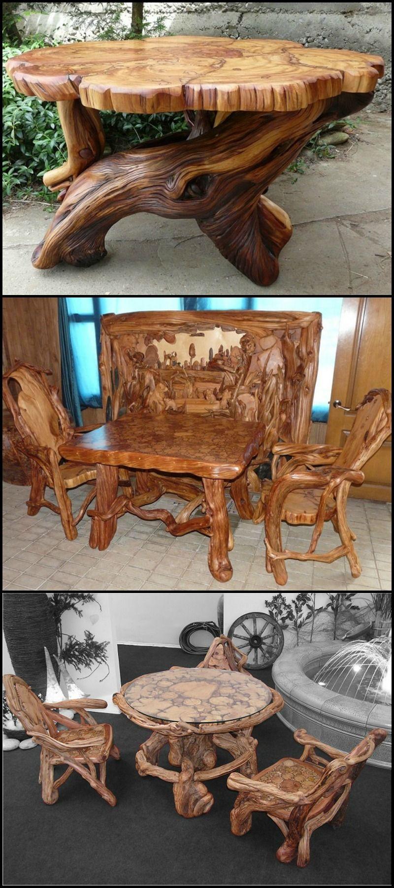 Unique Rustic Furniture | * Diy Wood craft * in 2019 | Wood ...