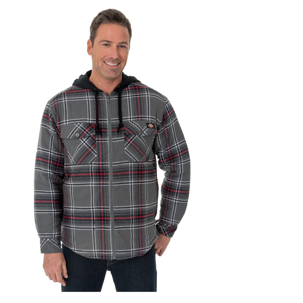 Mens hooded flannel jacket  Dickies Menus But Flannel Hooded Shirt Jackets  CharcoalEng Red