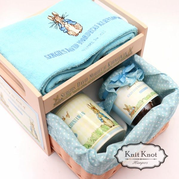 Peter rabbit party favors hampers pinterest peter rabbit knit knot hampers jakarta personalized baby hampers kids goodiebag and wedding gift negle